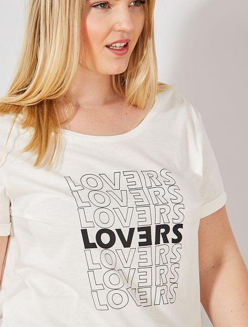 Camiseta con mensaje                                 BLANCO Tallas grandes mujer