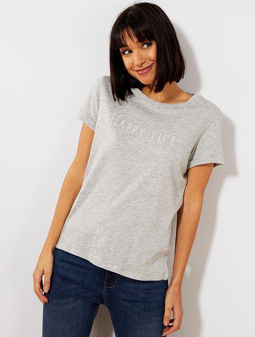 Camiseta con mensaje bordado                                                     GRIS Mujer talla 34 a 48
