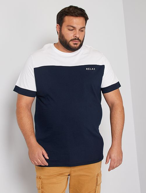 Camiseta con mensaje colorblock                             AZUL