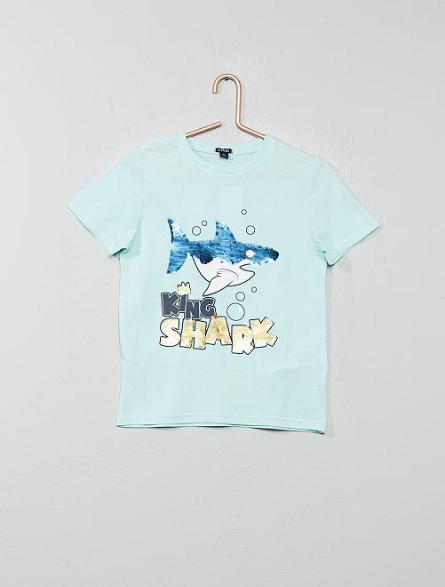Camiseta con mensaje con lentejuelas reversibles                                             AZUL Chico