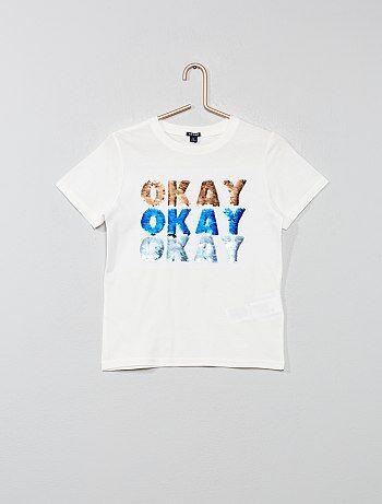 9306601e8d Niño 3-12 años - Camiseta con mensaje con lentejuelas reversibles - Kiabi