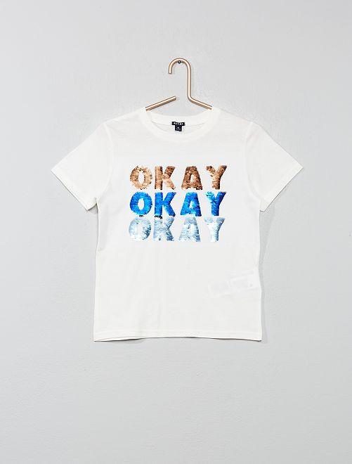 Camiseta con mensaje con lentejuelas reversibles                                                                                                     BLANCO Chico