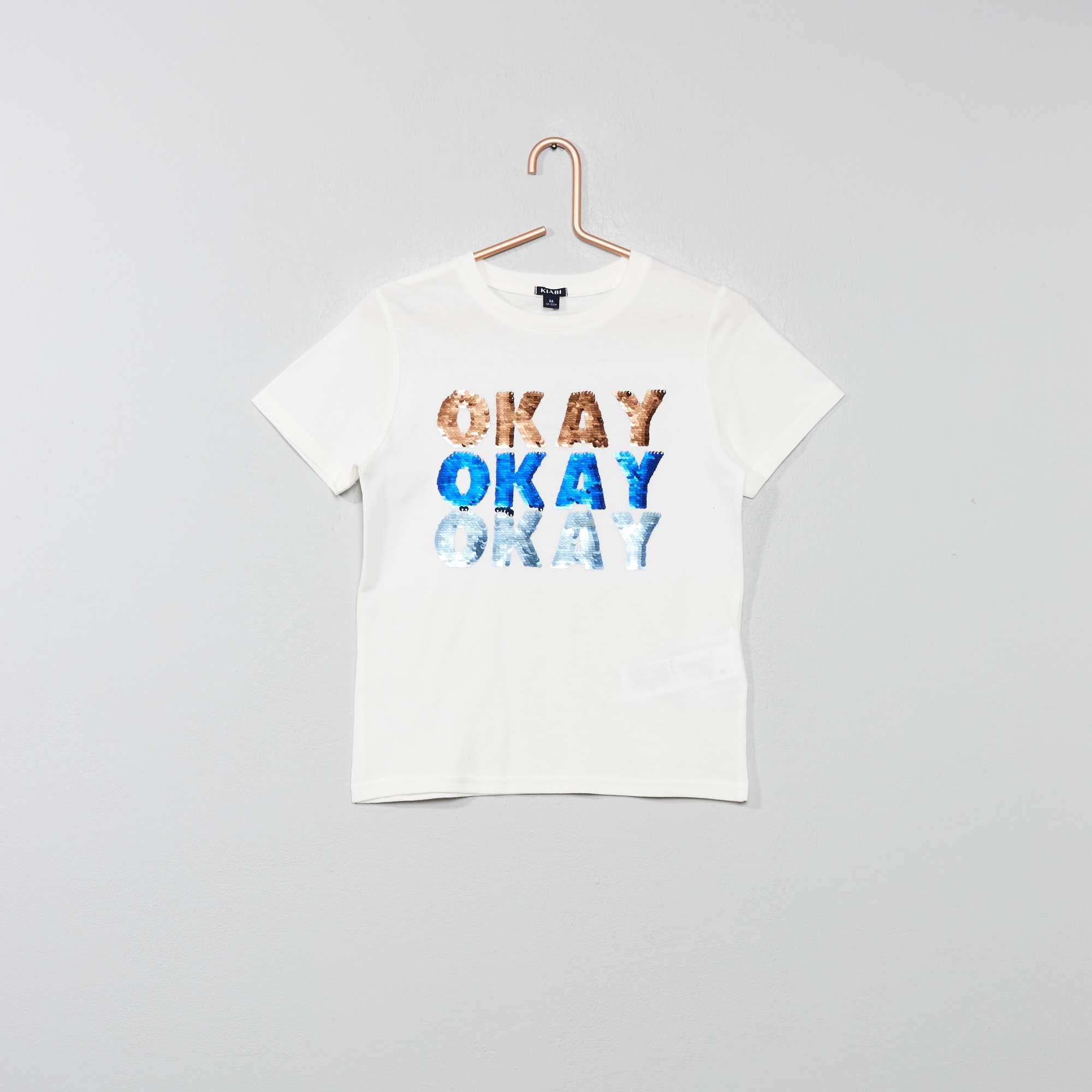 6a8e66aca Camiseta con mensaje con lentejuelas reversibles Chico - BLANCO ...