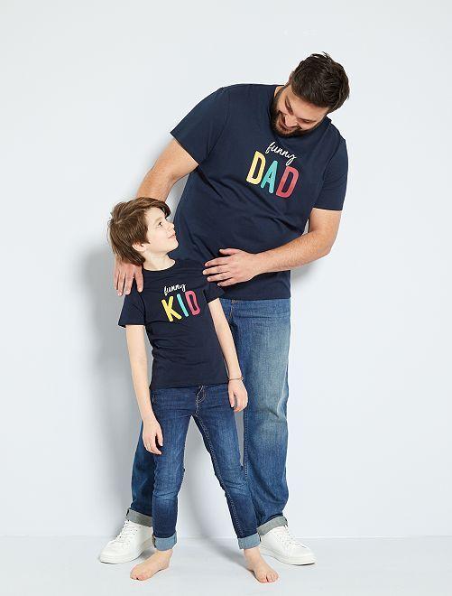 Camiseta con mensaje 'eco-concepción'                                                                 AZUL