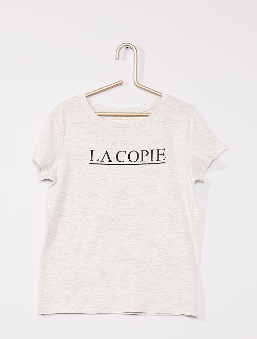 Camiseta con mensaje 'eco-concepción'                                                                 BEIGE