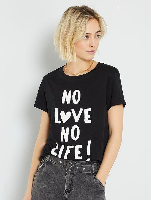 Camiseta con mensaje eco-concepción                                                                                                                                                                                                                                                                                                                             NEGRO