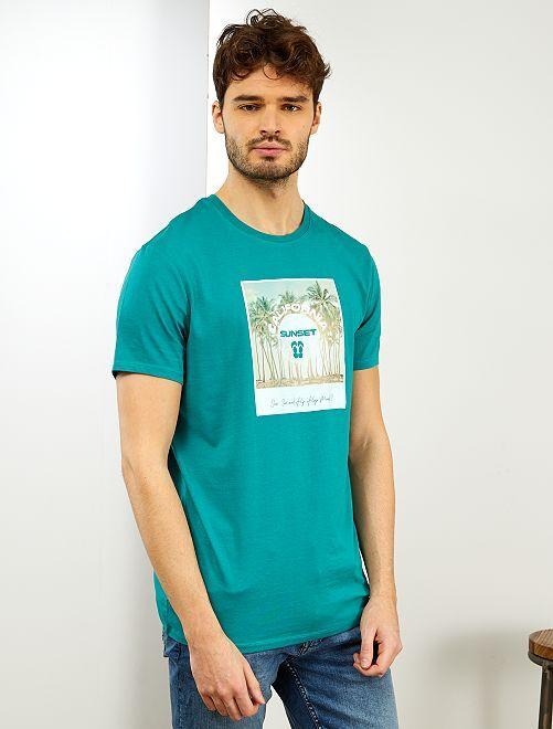 Camiseta con mensaje 'eco-concepción'                                         VERDE