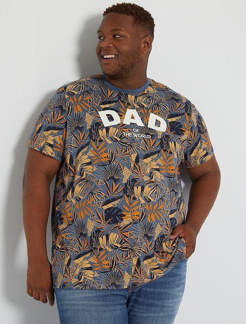 Camiseta con mensaje estampado                                         AZUL
