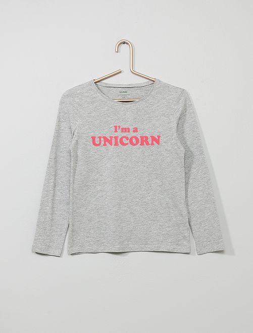 Camiseta con estampado de 'gato' 'Eco-concepción'                                                                     GRIS Chica