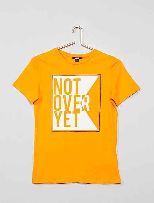 Camiseta con mensaje estampado                                         naranja