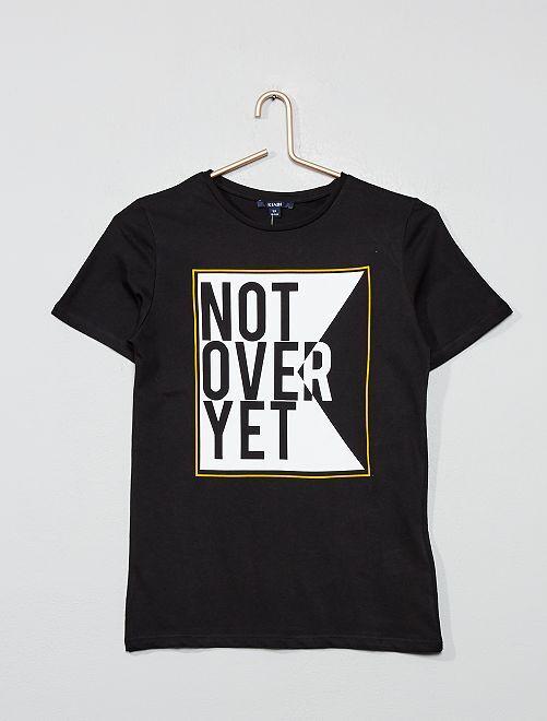 Camiseta con mensaje estampado                             negro
