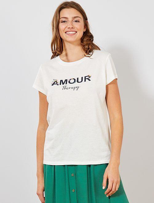 Camiseta con mensaje estampado y flores                                         BLANCO Mujer talla 34 a 48
