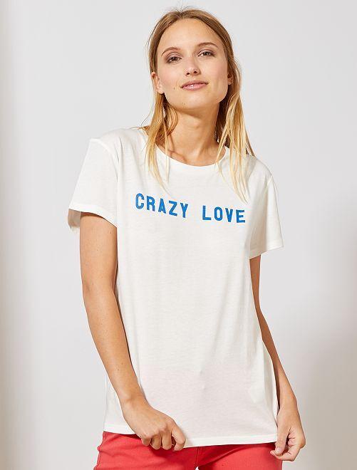 Camiseta con mensaje positivo                                 BLANCO Mujer talla 34 a 48