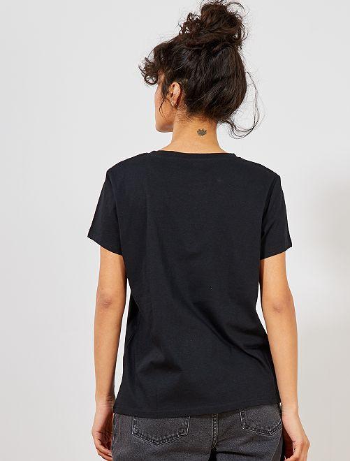 f1988ba72 Camiseta con mensaje positivo Mujer talla 34 a 48 - negro - Kiabi ...