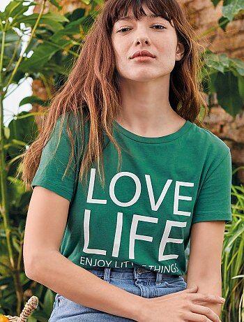 3e81db9ec37 Camiseta con mensaje positivo - Kiabi