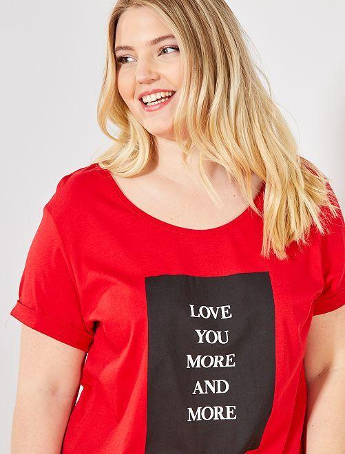 Camiseta con mensaje                                                     ROJO
