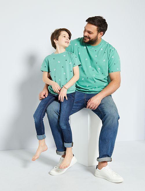 Camiseta con micromotivo 'eco-concepción'                                                                 VERDE