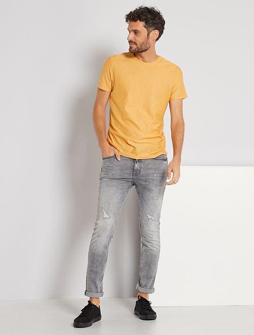Camiseta con microrrayas                                                                 BLANCO