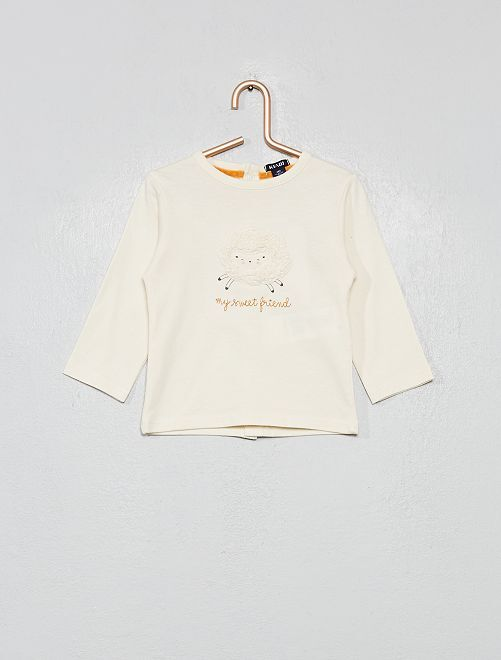 Camiseta con motivo de oveja con relieve                             BLANCO