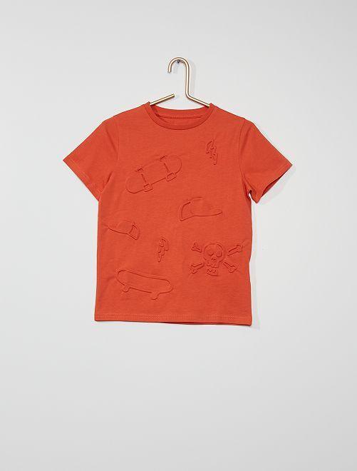 Camiseta con motivos con relieve                                                     NARANJA