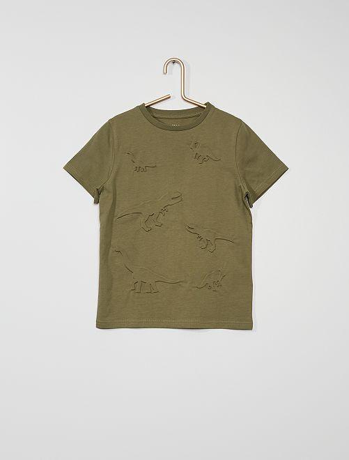Camiseta con motivos con relieve                                                     verde liquen