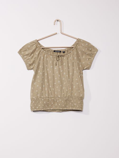 Camiseta con motivos de 'corazones'                                         caqui