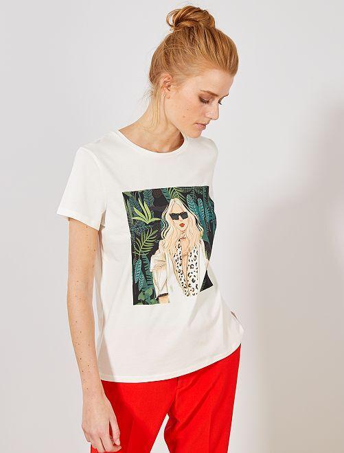 Camiseta con photoprint femenino                             BEIGE Mujer talla 34 a 48