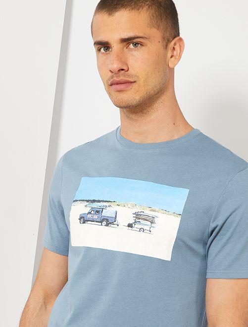 Camiseta con photoprint summer                                                                 AZUL Hombre