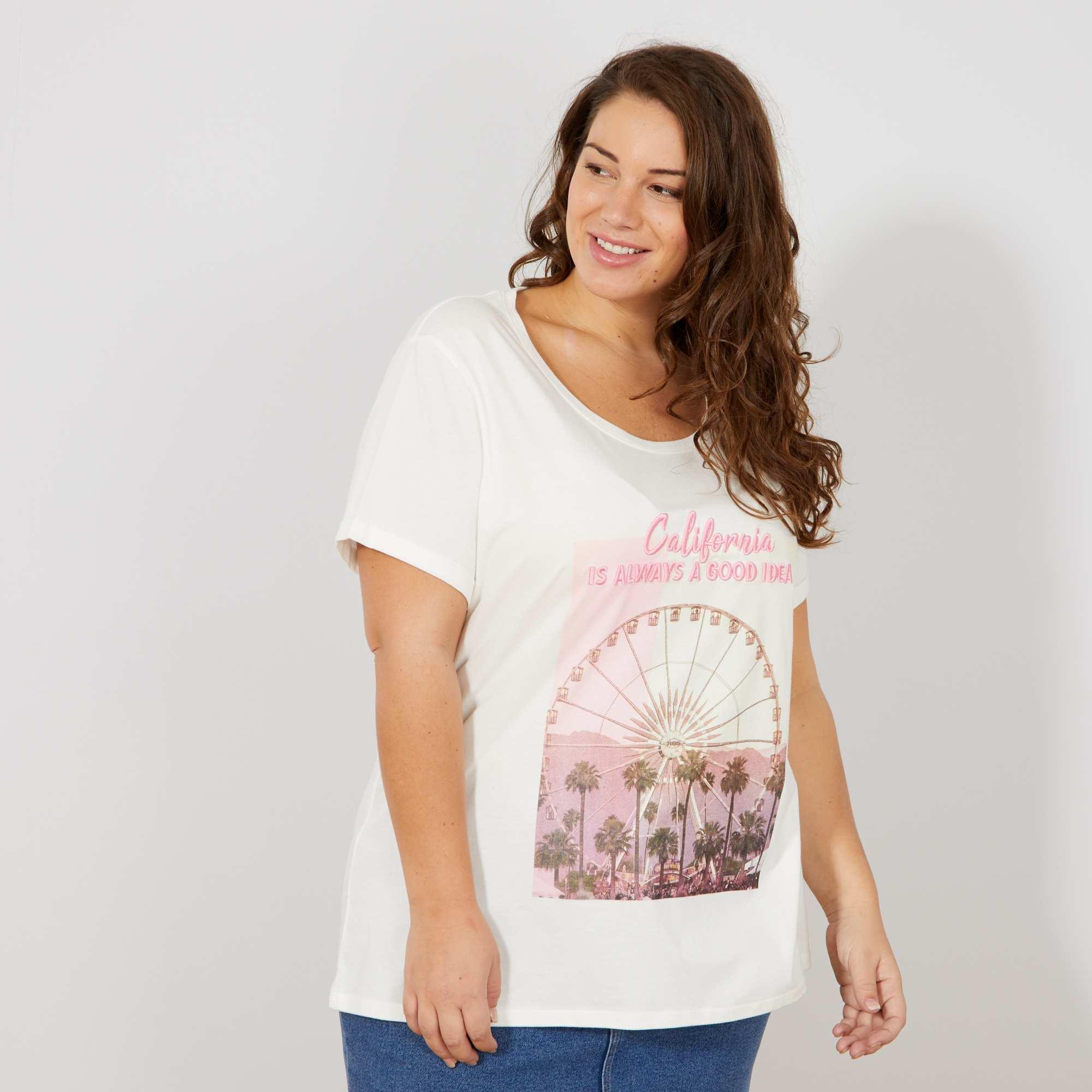 d8c1a6693 Camiseta con photoprint y bordado Tallas grandes mujer - BLANCO ...