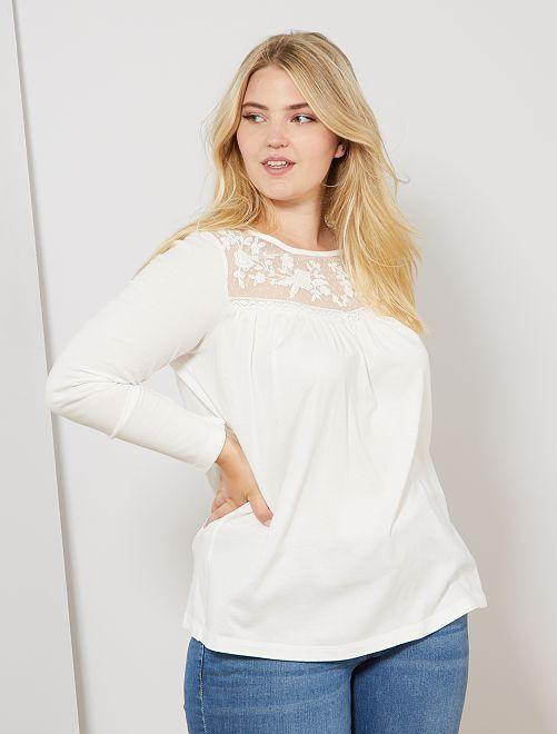 Camiseta con plastrón de malla                                         blanco nieve