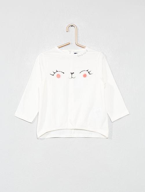 Camiseta con pompones de adorno                                                     BLANCO Bebé niña