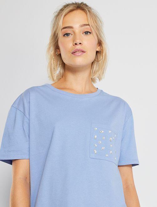 Camiseta con strass                                         violeta lavanda