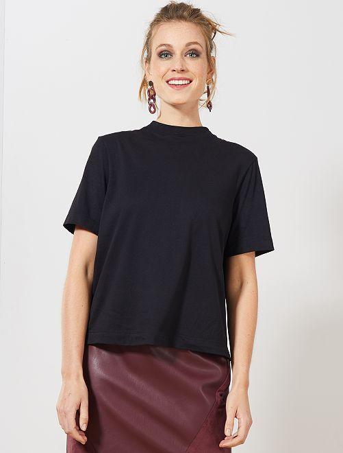 Camiseta con tacto de melocotón                             negro