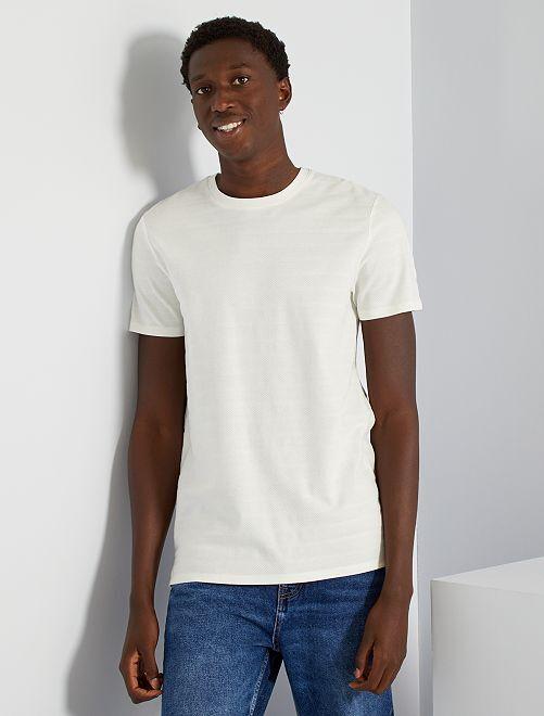 Camiseta con textura eco-concepción                                                                                         blanco nieve