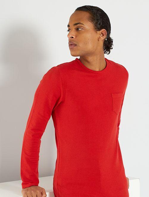 Camiseta con textura 'eco-concepción'                                         rojo bombero