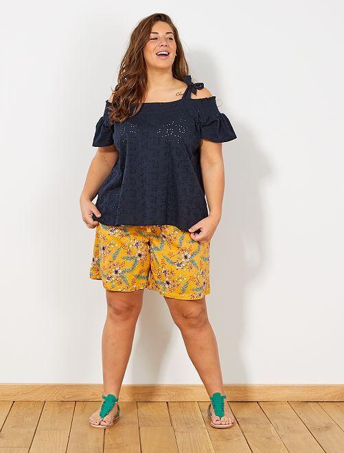 Camiseta con tirantes anudados                                 AZUL Tallas grandes mujer