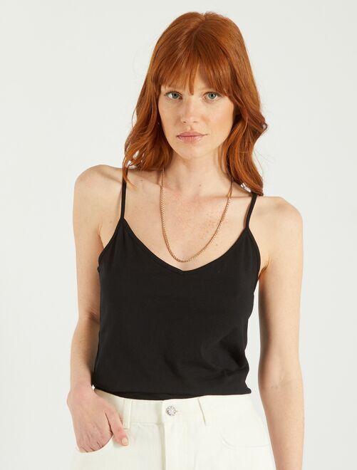Camiseta con tirantes finos                                                     negro