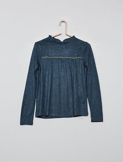 Camiseta con volante en el cuello                                         azul navy