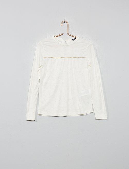 Camiseta con volante en el cuello                                         blanco nieve