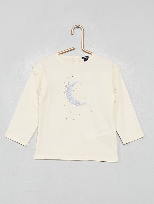 Camiseta con volantes de tul                             BLANCO