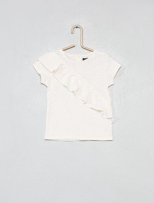 Camiseta con volantes estampado all over                     BLANCO Bebé niña