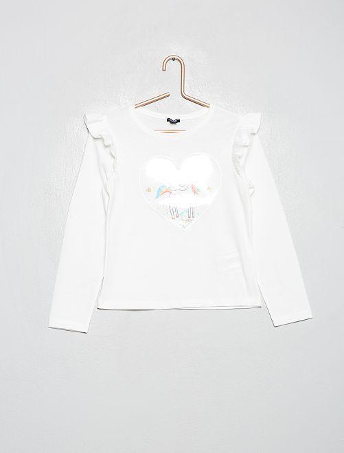 Camiseta con volantes 'unicornio'                                                                             BLANCO