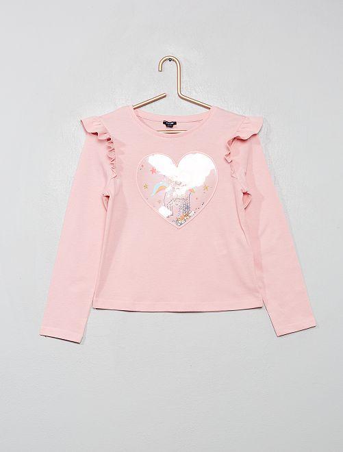 Camiseta con volantes 'unicornio'                                                                             ROSA