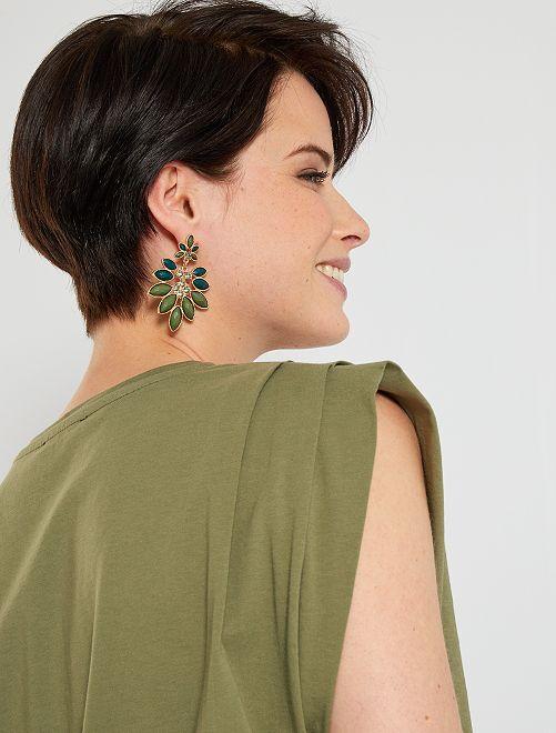 Camiseta con volumen en el hombro                                                                 verde liquen
