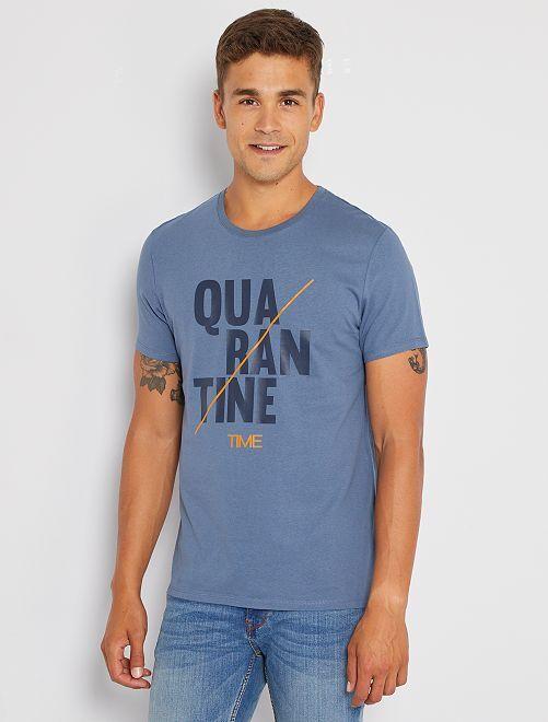 Camiseta 'confinamiento' eco-concepción                                                                 AZUL