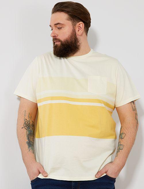 Camiseta confort colorblock                                         AMARILLO Tallas grandes hombre