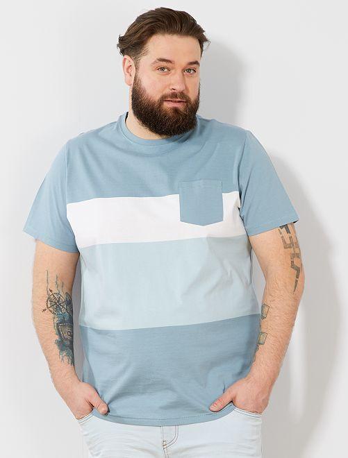 Camiseta confort colorblock                                         AZUL Tallas grandes hombre