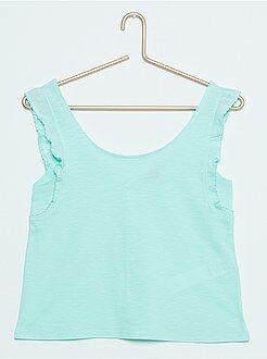Camisetas verde - Camiseta corta sin mangas con volantes y botones traseros