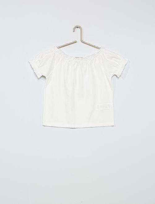 Camiseta crop bardot                                 blanco nieve
