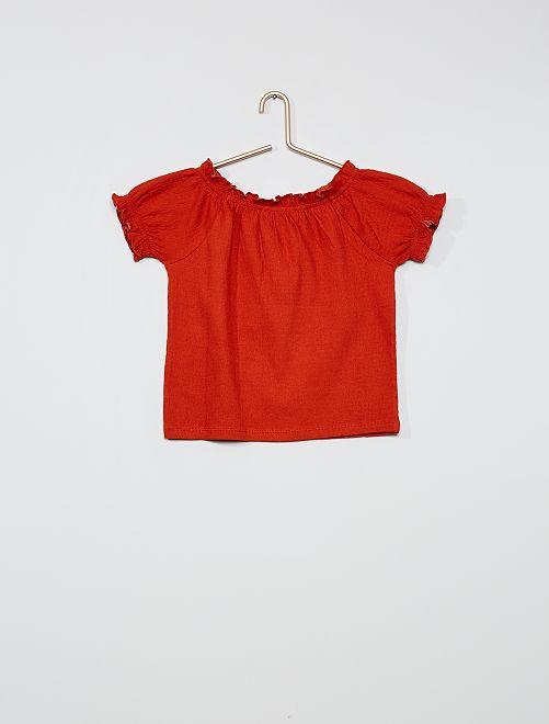 Camiseta crop bardot                                                                                         NARANJA